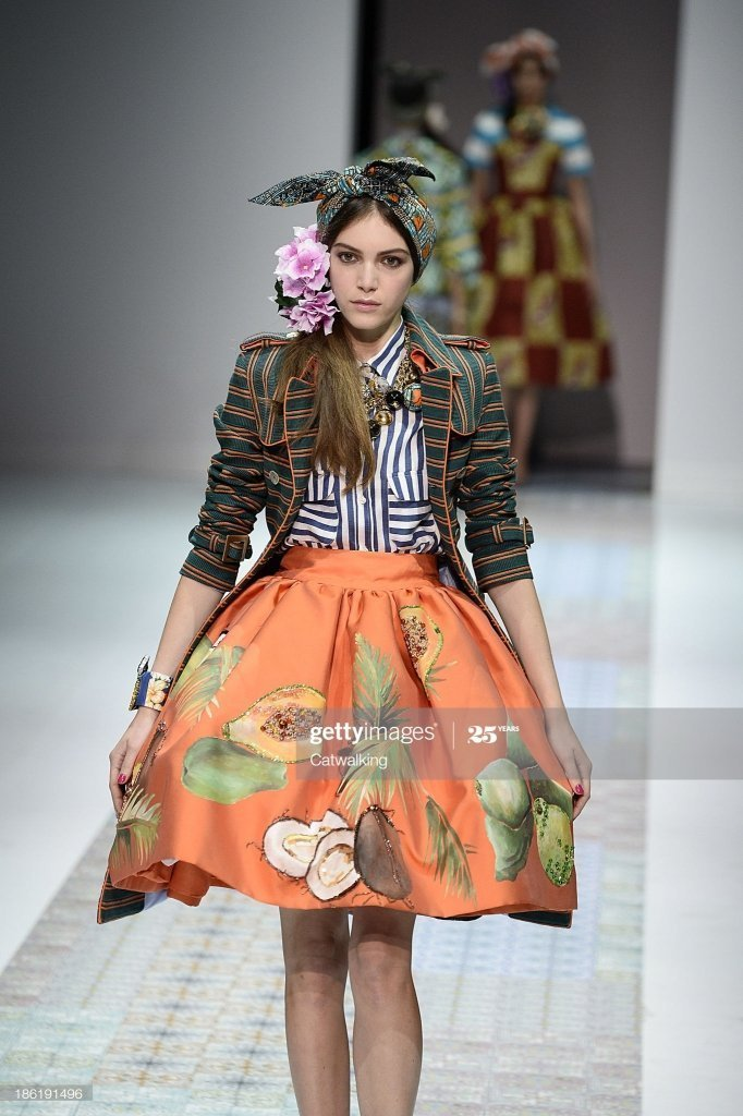 MILAN, ITALY – SEPTEMBER 21: Stella Jean Spring Spring Summer 2014 (Photo by Catwalking/Getty Images)