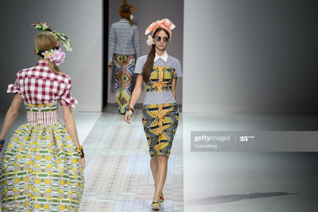 MILAN, ITALY - SEPTEMBER 21:  Models on the runway at the Stella Jean Spring  Spring Summer 2014 fashion show during Milan Fashion Week on September 21, 2013 in Milan, Italy.